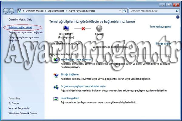 Windows 7 Kablosuz Ağ Ayarları